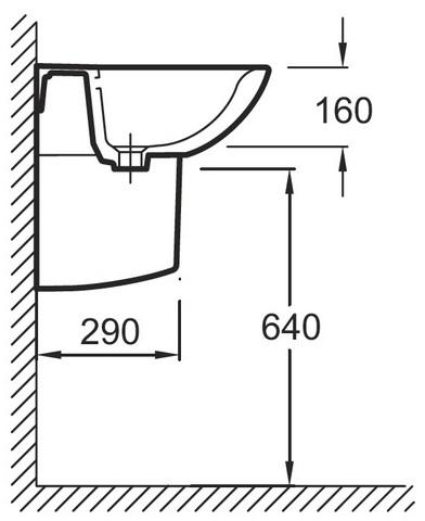 Jacob Delafon PATIO Подвесная раковина 60x47 см (E4159G)