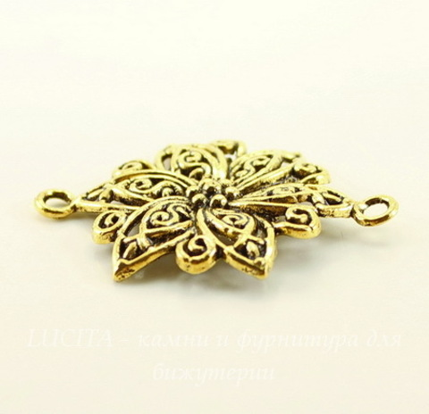 """Коннектор """"Цветок"""" (1-1) 40х28 мм (цвет - античное золото)"""