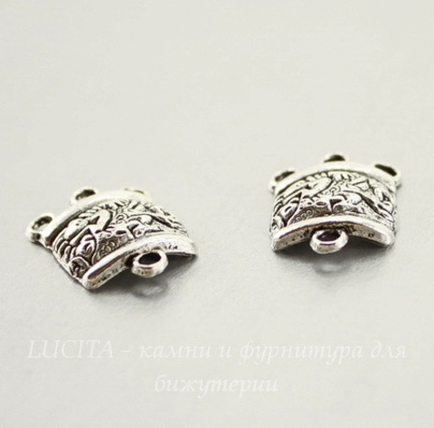 "Коннектор ""Майя"" (1-3) 20х15 мм (цвет - античное серебро), ПАРА"