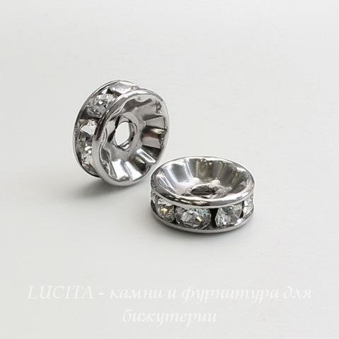 77509 Бусина - рондель Сваровски Crystal (цвет - античное серебро) 9х4 мм