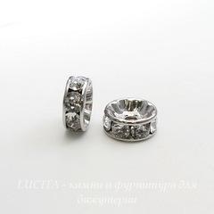 77508 Бусина - рондель Сваровски Crystal (цвет - античное серебро) 8х3 мм
