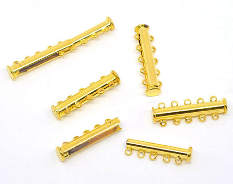 Замок магнитный трубочка на 5 нитей (цвет - золото) 30х10 мм (B09348C)