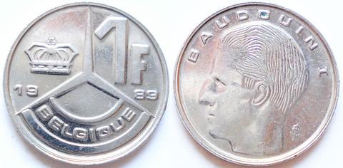Бельгия 1 франк 1989