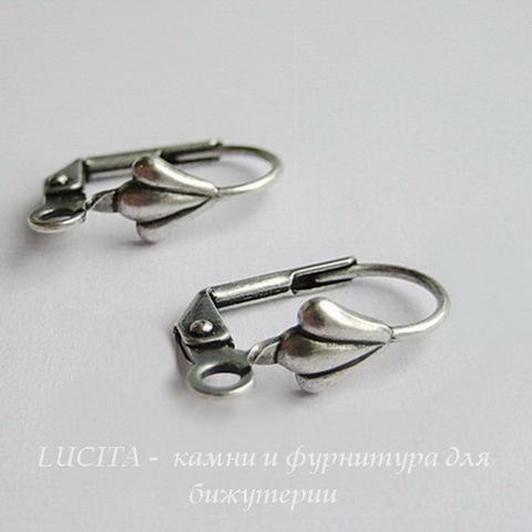 "Винтажные швензы с французским замком ""Ракушка"" 18 мм (оксид серебра) ()"