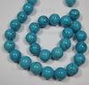 Бусина Бирюза (искусств), шарик, цвет - голубой, 14 мм, нить