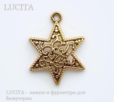 """Подвеска """"Звезда"""" (цвет - античное золото) 24х18 мм"""