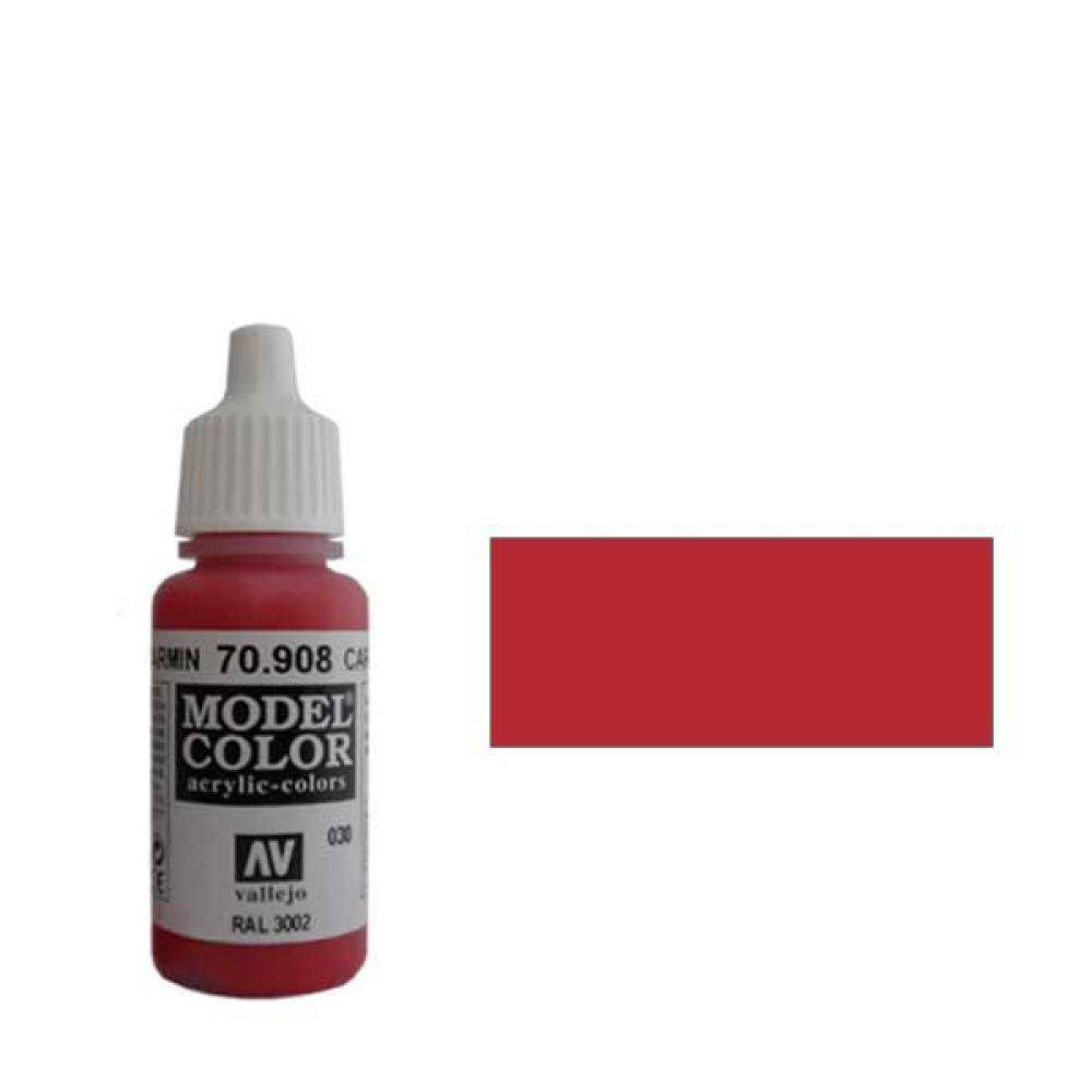 030. Краска Model Color Кармин Красный 908 (Carmine Red) укрывистый, 17мл