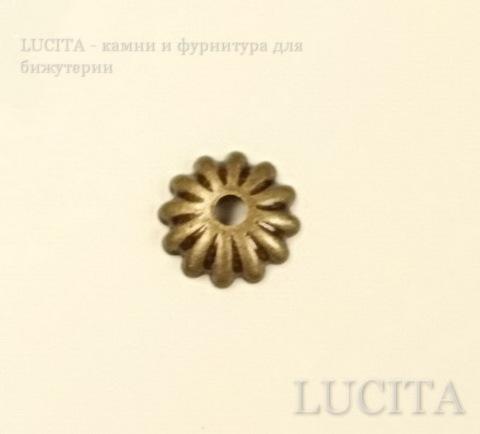 Шапочка для бусины текстурная (цвет - античная бронза) 6 мм, 10 штук