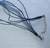 Шнур с замком и цепочкой темно-синий (капрон + вощеный шнур) 42 см ()