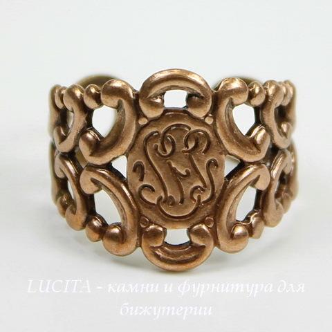 Винтажная основа для кольца с узором на площадке (оксид меди) ()