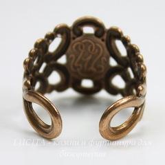 Винтажная основа для кольца с узором на площадке (оксид меди)
