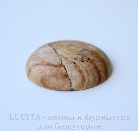 Кабошон круглый Яшма Пейзажная 35х9 мм №11 ()