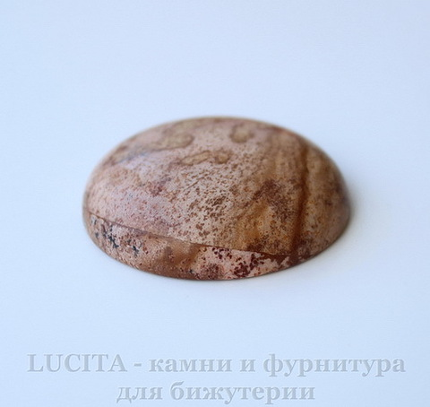 Кабошон круглый Яшма Пейзажная 35х9 мм №16 ()