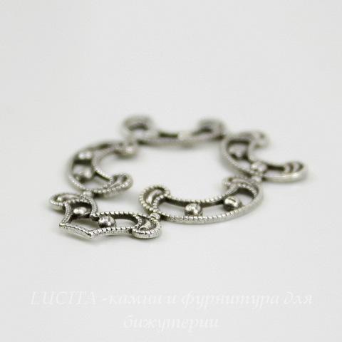 Винтажный декоративный элемент - штамп 31х24 мм (оксид серебра) ()