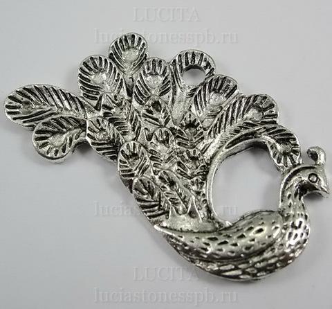 "Подвеска ""Павлин""  47х25 мм (цвет - античное серебро)"
