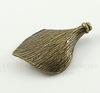 """Бусина металлическая """"Лист"""" (цвет - античная бронза) 28х20 мм"""