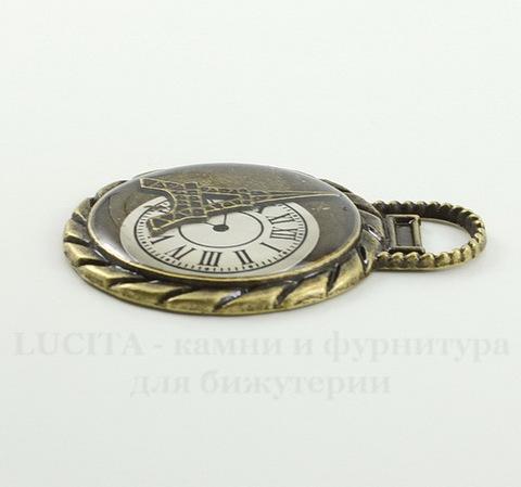 """Подвеска """"Время Парижа"""" (цвет - античная бронза) 45х35 мм"""
