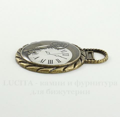 "Подвеска ""Ключ времени"" (цвет - античная бронза) 45х35 мм"