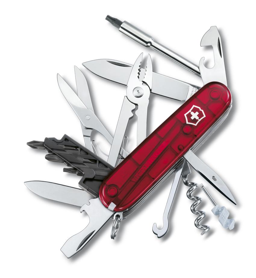 Швейцарский нож Victorinox CyberTool, 91 мм, 34 функ, красный полупрозрачный  (1.7725.T)