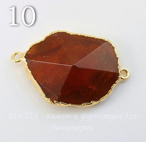 Коннектор (1-1) Агат с огранкой с фольгой (цвет - золото) (№10 (40х25 мм))