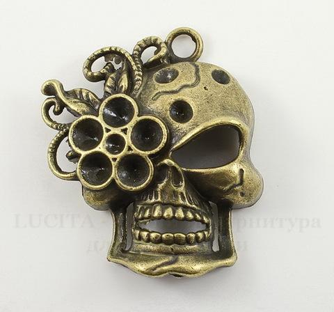 """Подвеска """"Череп с цветком"""" (цвет - античная бронза) 38х31 мм"""
