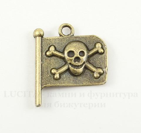 "Подвеска ""Пиратский флаг"" (цвет - античная бронза) 21х19 мм"