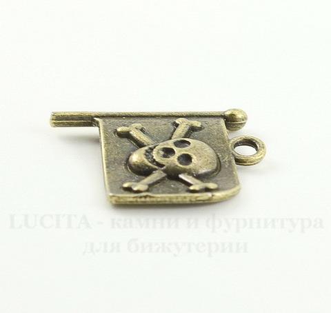 "Подвеска ""Пиратский флаг"" 21х19 мм (цвет - античная бронза)"