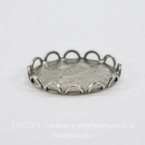 Сеттинг - основа для камеи или кабошона 12х10 мм (оксид серебра) ()