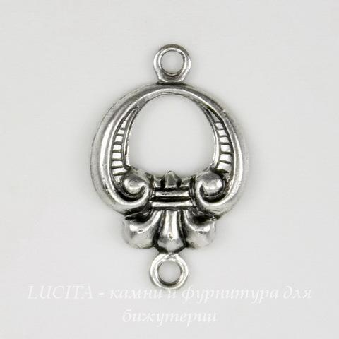 Винтажный декоративный элемент - коннектор (1-1) 15х10 мм (оксид серебра) ()