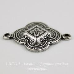 Винтажный декоративный элемент - коннектор (1-1) 22х16 мм (оксид серебра)