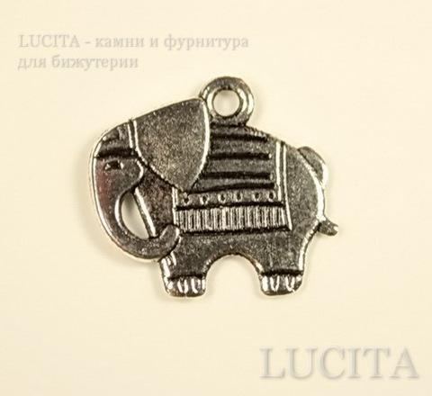"""Подвеска """"Слоник"""" (цвет - античное серебро) 21х19 мм"""