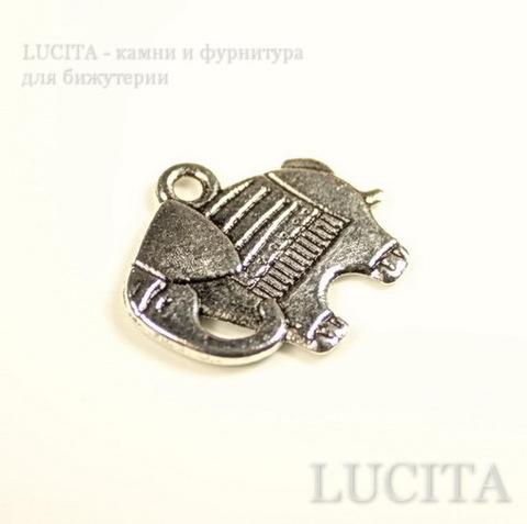 """Подвеска """"Слоник"""" (цвет - античное серебро) 21х19 мм ()"""