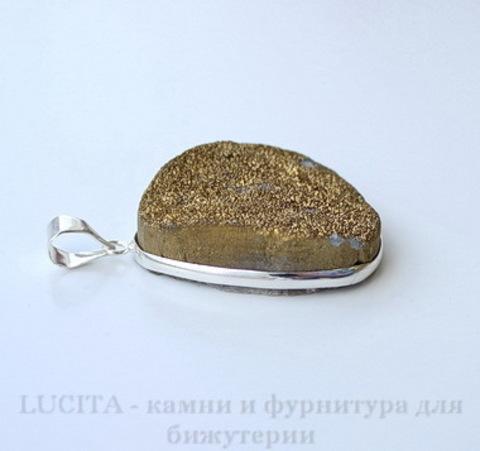 Подвеска Кварц в рамке (цвет - античное серебро) 42х29,5х12,3 мм №12