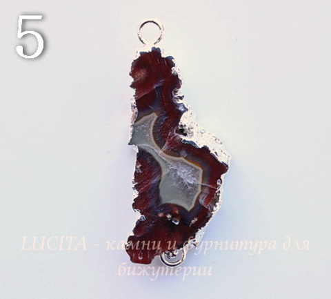 Коннектор (1-1) Агат с жеодой с фольгой (цвет - серебро) (№5 (46х19 мм)(ЦАРАПИНА))