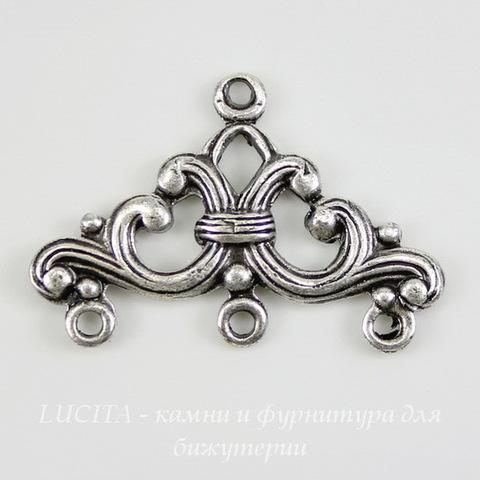 Винтажный декоративный элемент - коннектор (1-3) 24х16 мм (оксид серебра)