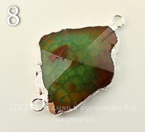 Коннектор (1-1) Агат с огранкой с фольгой (цвет - серебро) (№8 (43х28 мм))