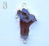 Коннектор (1-1) Агат с жеодой с фольгой (цвет - серебро) (№3 (50х28 мм))
