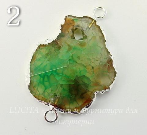Коннектор (1-1) Агат с огранкой с фольгой (цвет - серебро) (№2 (45х30 мм))