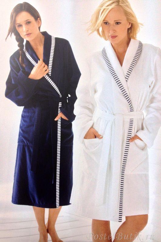 Элитный халат велюровый 3485 синий от Cawo