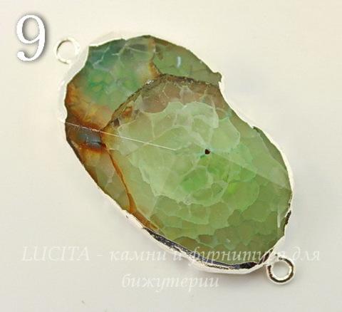 Коннектор (1-1) Агат с огранкой с фольгой (цвет - серебро) (№9 (46х23 мм))