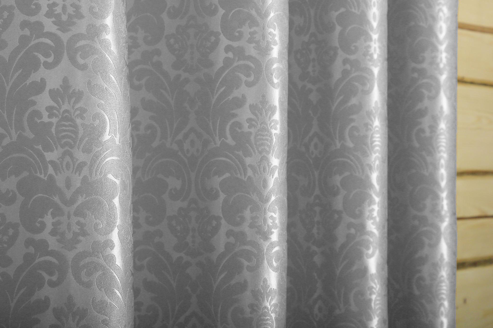 Венеция (стальной) .Готовая штора блэкаут жаккард с шинилом в стиле дамаск.