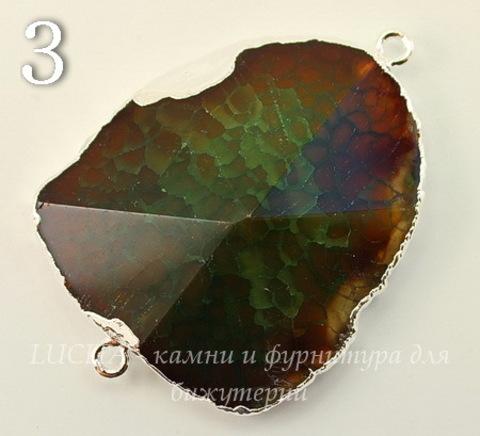 Коннектор (1-1) Агат с огранкой с фольгой (цвет - серебро) (№3 (46х34 мм))