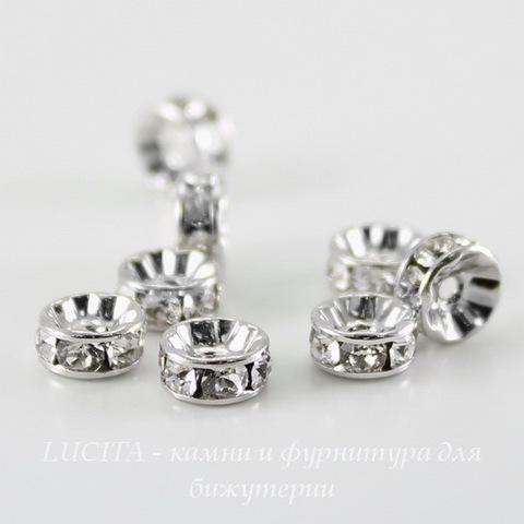 77506 Бусина - рондель Сваровски Crystal (цвет - античное серебро) 6х3 мм