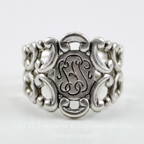 Винтажная основа для кольца с узором на площадке (оксид серебра)