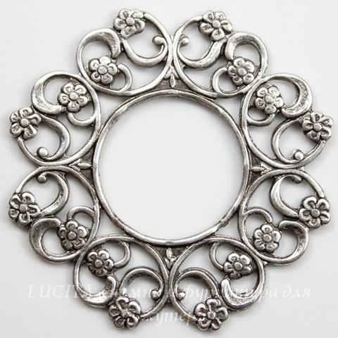 Винтажный декоративный элемент - рамка 30 мм (оксид серебра)