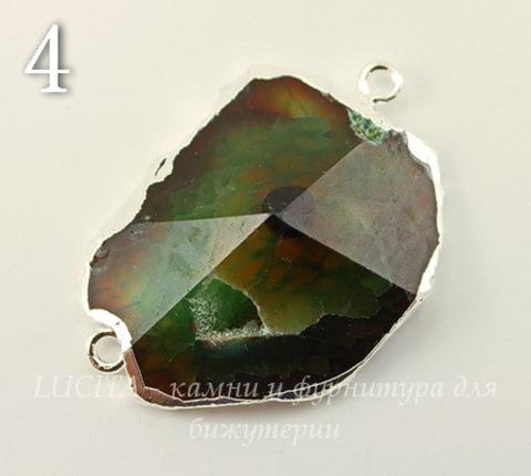 Коннектор (1-1) Агат с огранкой с фольгой (цвет - серебро) (№4 (38х26 мм))