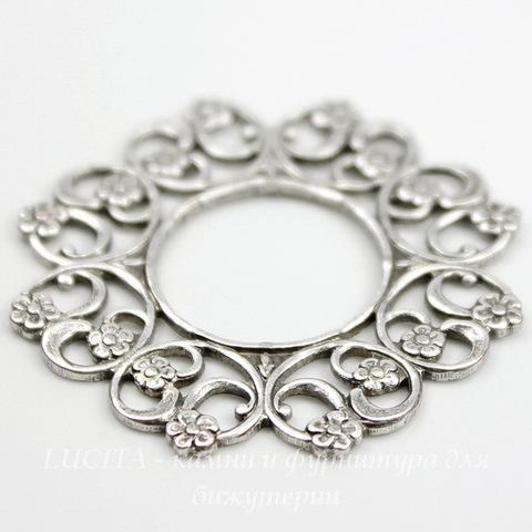Винтажный декоративный элемент - рамка 30 мм (оксид серебра) ()