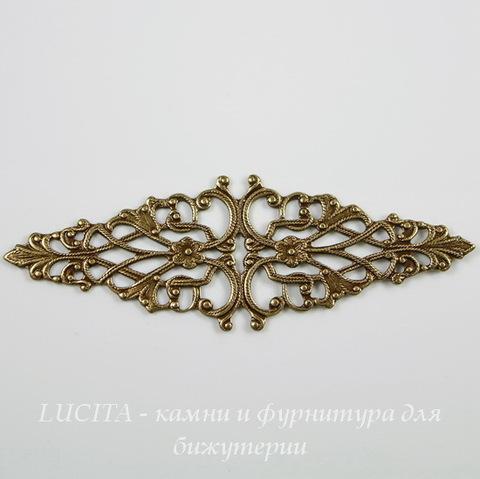 Винтажный декоративный элемент - филигрань 64х21  мм (оксид латуни) ()