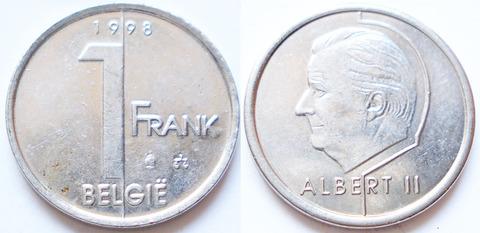 Бельгия 1 франк 1998
