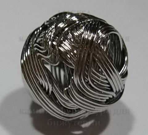 Бусина металлический шарик из проволоки (цвет - никель) 14 мм